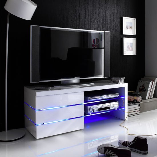 Sonia Tv Stand In White High Gloss With Glass And Led 19631 In White Gloss Oval Tv Stands (View 10 of 15)
