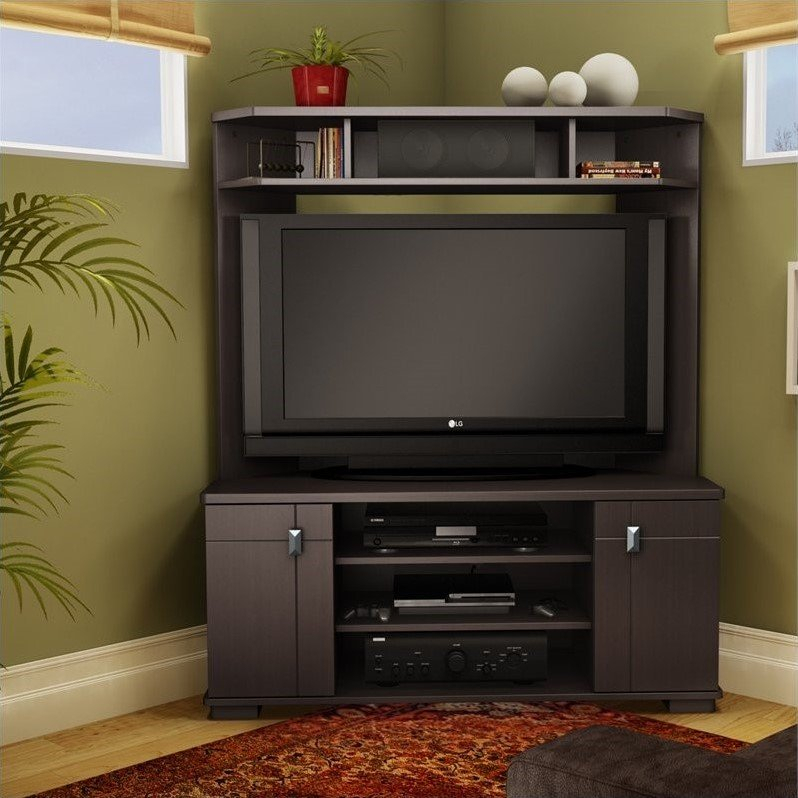 South Shore Vertex Corner Tv Stand W Hutch Chocolate With Regard To Corner Tv Cabinet With Hutch (View 6 of 15)