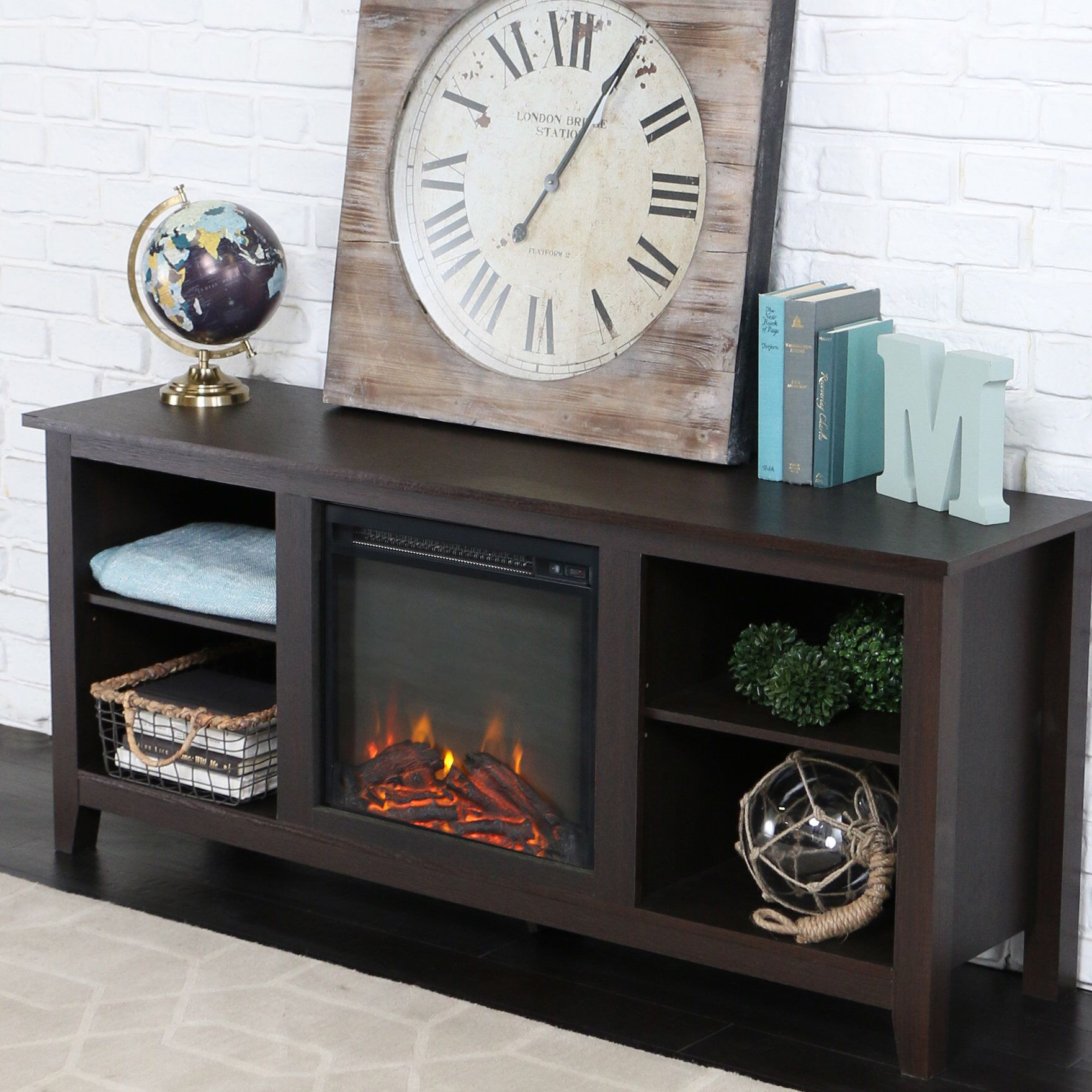 """Sunbury Tv Stand For Tvs Up To 65"""" With Fireplace Included For Twin Star Home Terryville Barn Door Tv Stands (View 3 of 15)"""