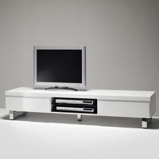 Sydney Lowboard Tv Stand In High Gloss White With 2 Within Tv Stands With 2 Open Shelves 2 Drawers High Gloss Tv Unis (View 5 of 15)