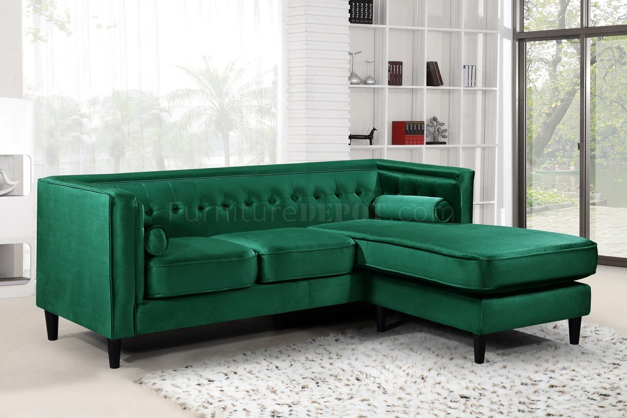 Taylor Sectional Sofa 643 In Green Velvet Fabricmeridian Throughout French Seamed Sectional Sofas In Velvet (View 5 of 15)