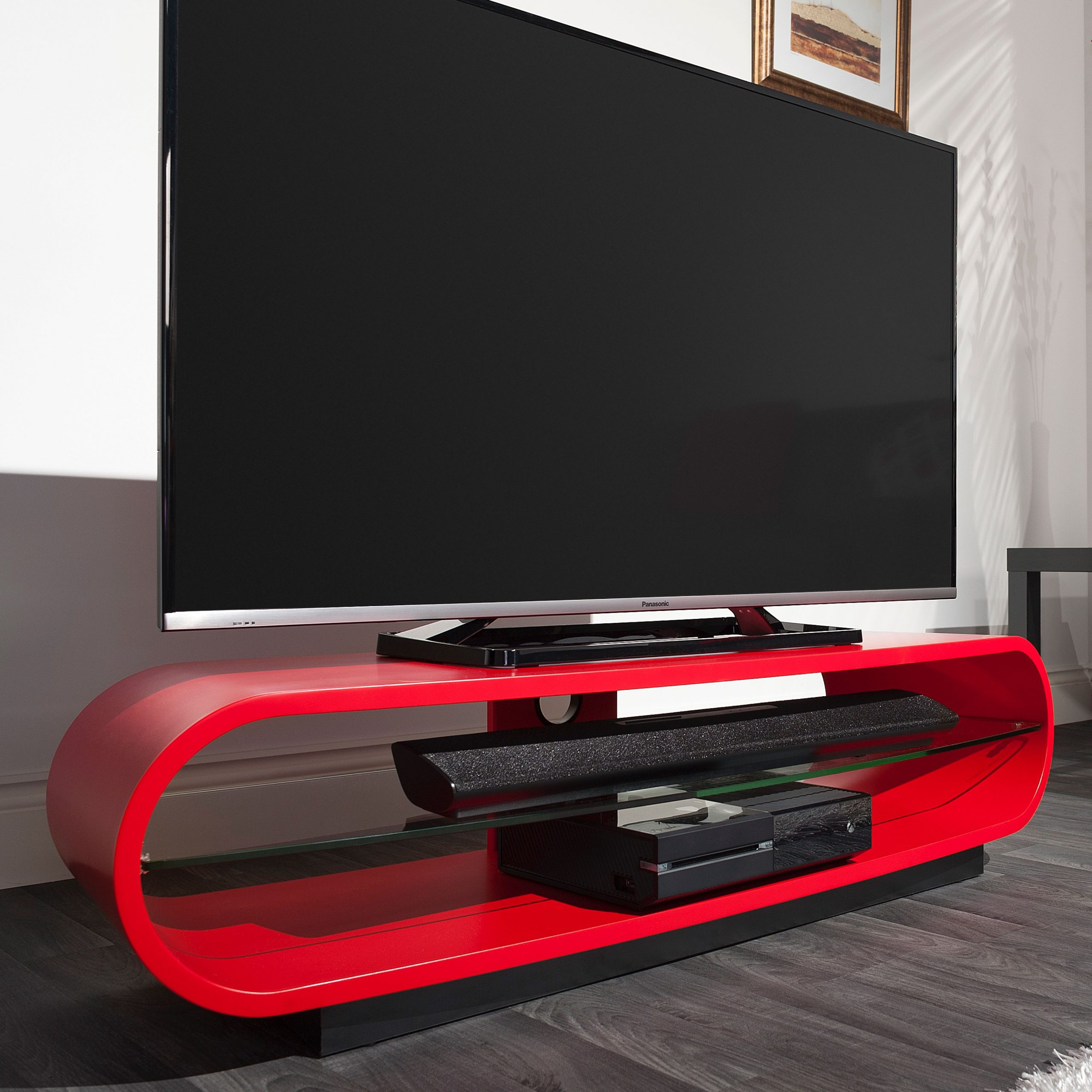 Techlink Ovid Curve Tv Stand Unit Satin Red   Curved Tv In Red Tv Units (View 8 of 15)