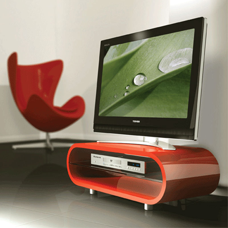 Techlink Ovid Flat Screen Tv Stand For Screens Up To 50 In Within Red Tv Units (View 12 of 15)