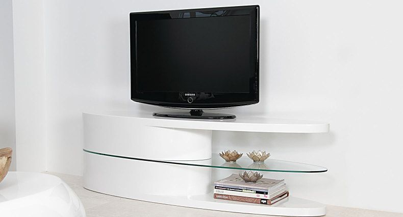 The Oval White High Gloss Tv Unit Is A Stunning Piece Of Regarding Oval Tv Unit (View 6 of 15)