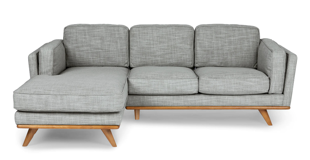 Timber Pebble Gray Left Sectional   Modern Sofa Sectional Inside Florence Mid Century Modern Left Sectional Sofas (View 15 of 15)