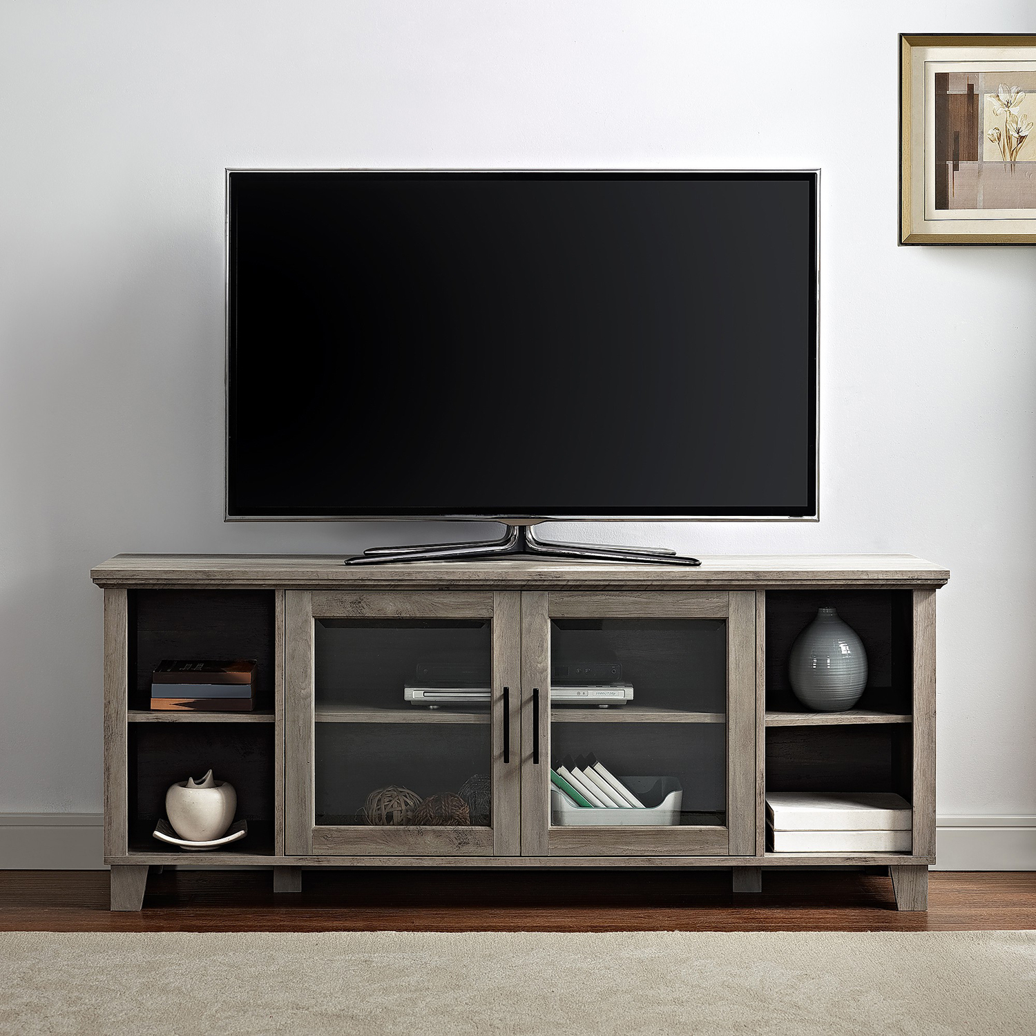 Traditional Tv Stand With Glass Doors – Pier1 For Tv Cabinets With Glass Doors (View 2 of 15)