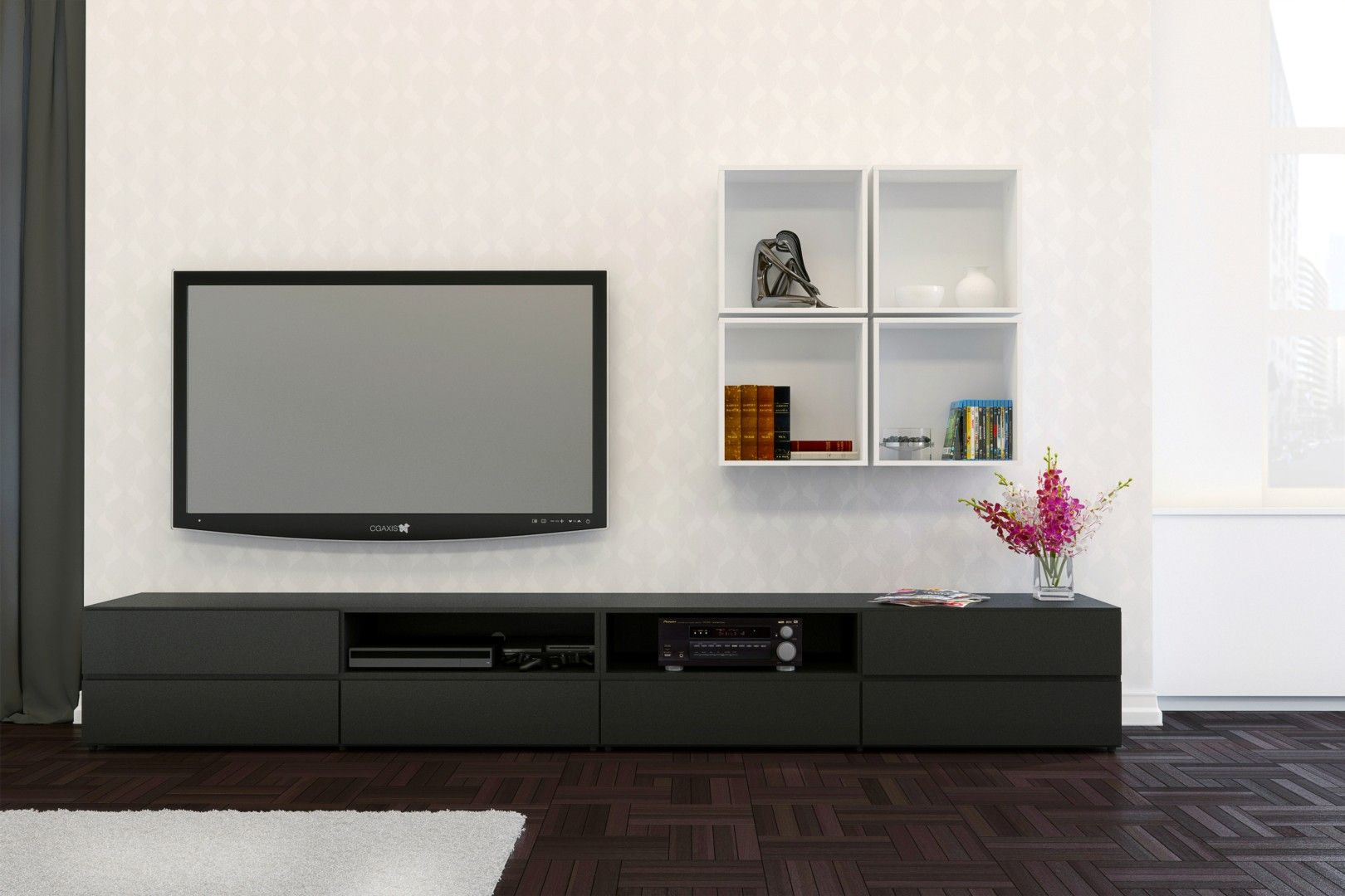 Traffic Tv Stand With Square Wall Shelves, In Black And Within Square Tv Stands (View 1 of 15)