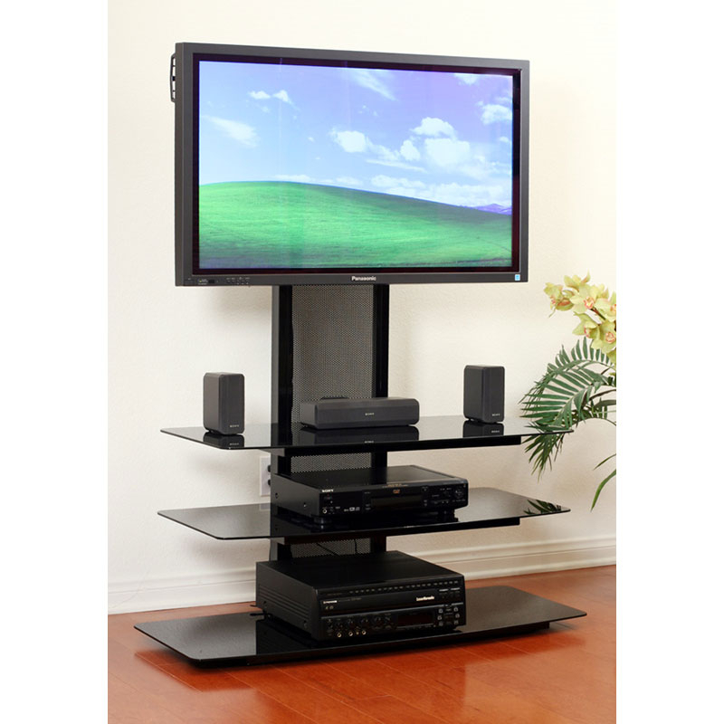 Transdeco Black Glass Tv Stand With Integrated Flat Panel For Easel Tv Stands For Flat Screens (View 13 of 15)