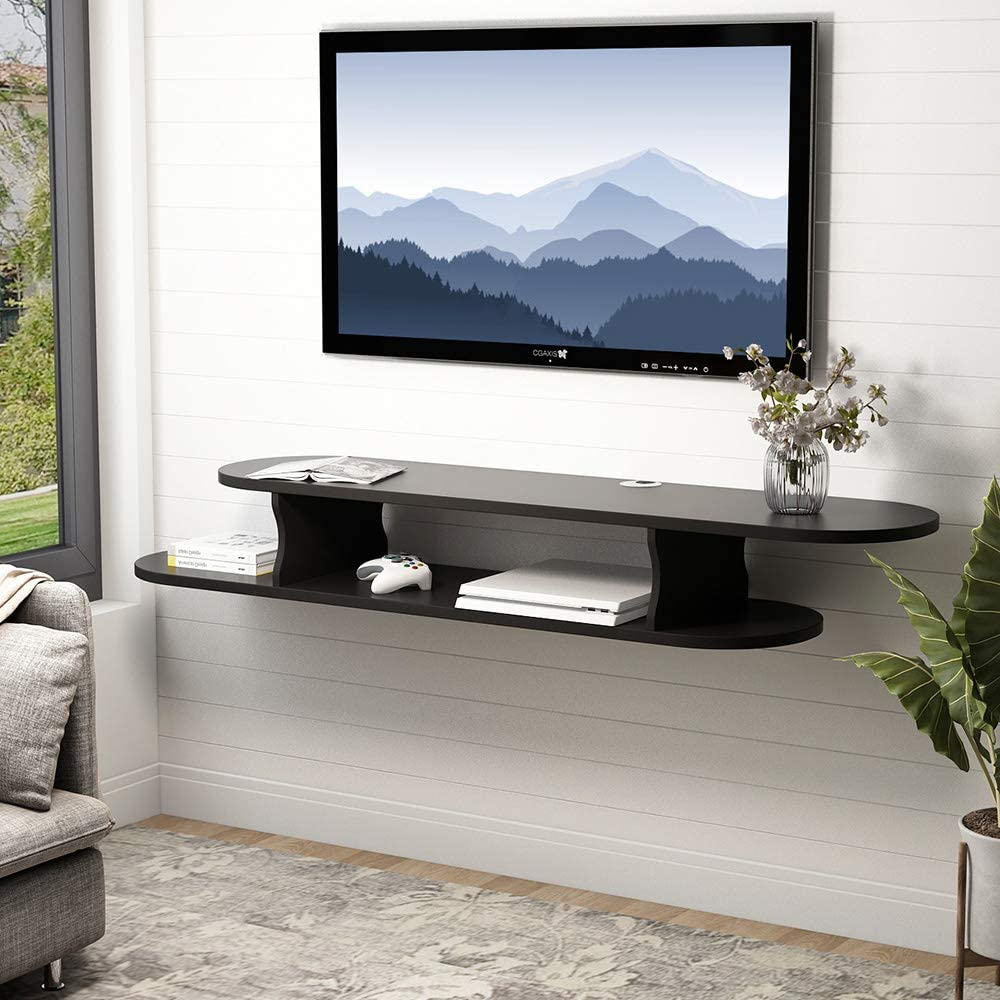 Tribesigns 2 Tier Modern Wall Mounted Media Console Within Slim Tv Stands (View 11 of 15)