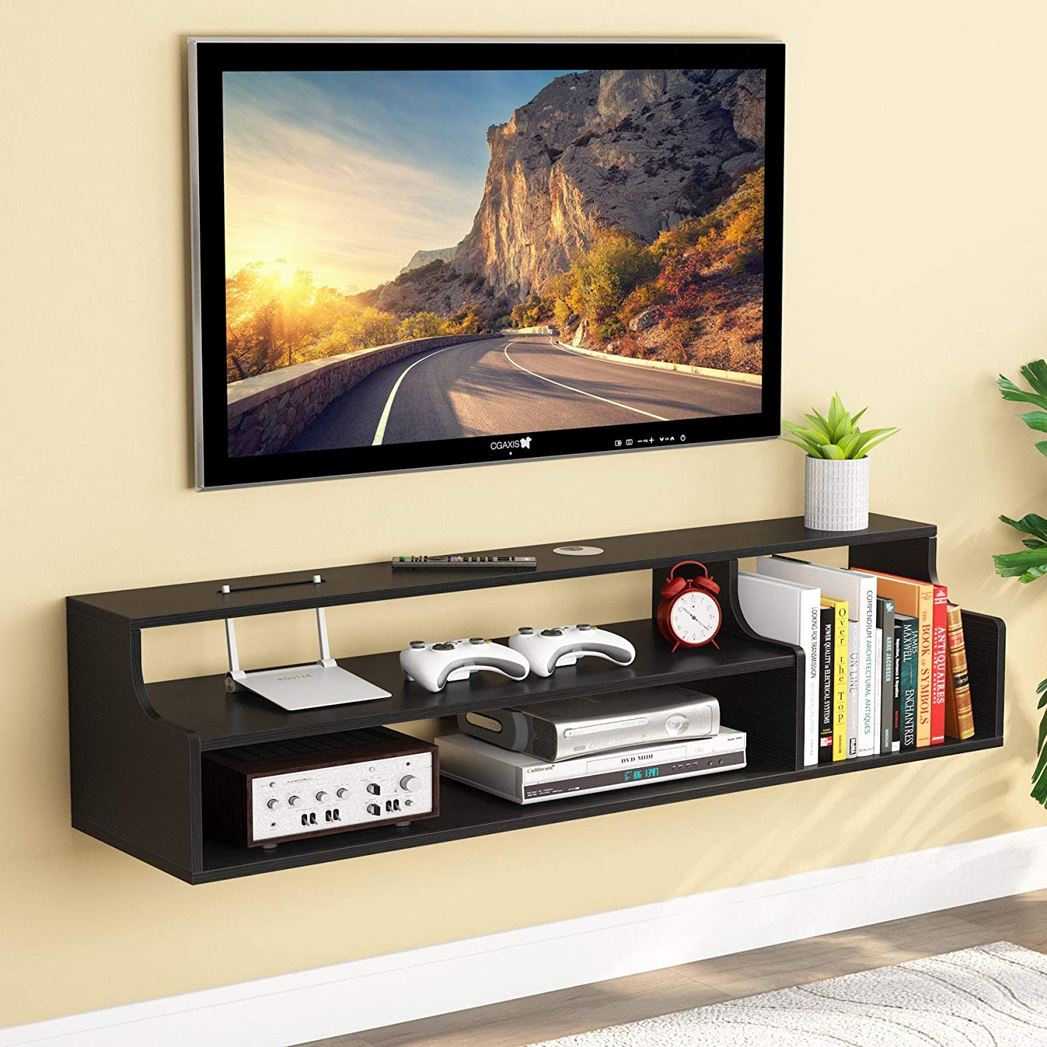 Tribesigns 3 Tier Modern Floating Tv Shelf Tv Stand Wall Intended For Single Tv Stands (View 13 of 15)