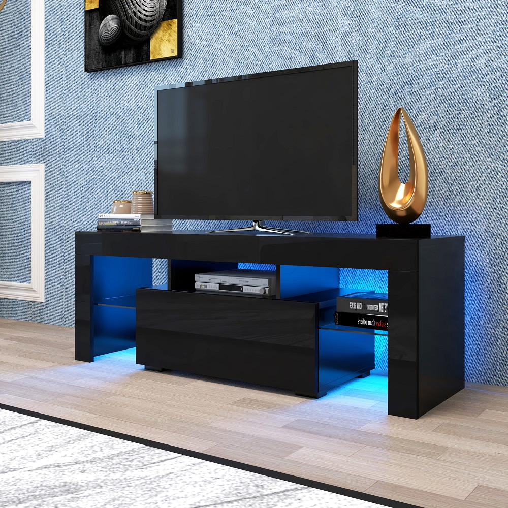 Tv Console Cabinet, Segmart Modern Black Tv Stand With 12 Within Polar Led Tv Stands (View 8 of 15)