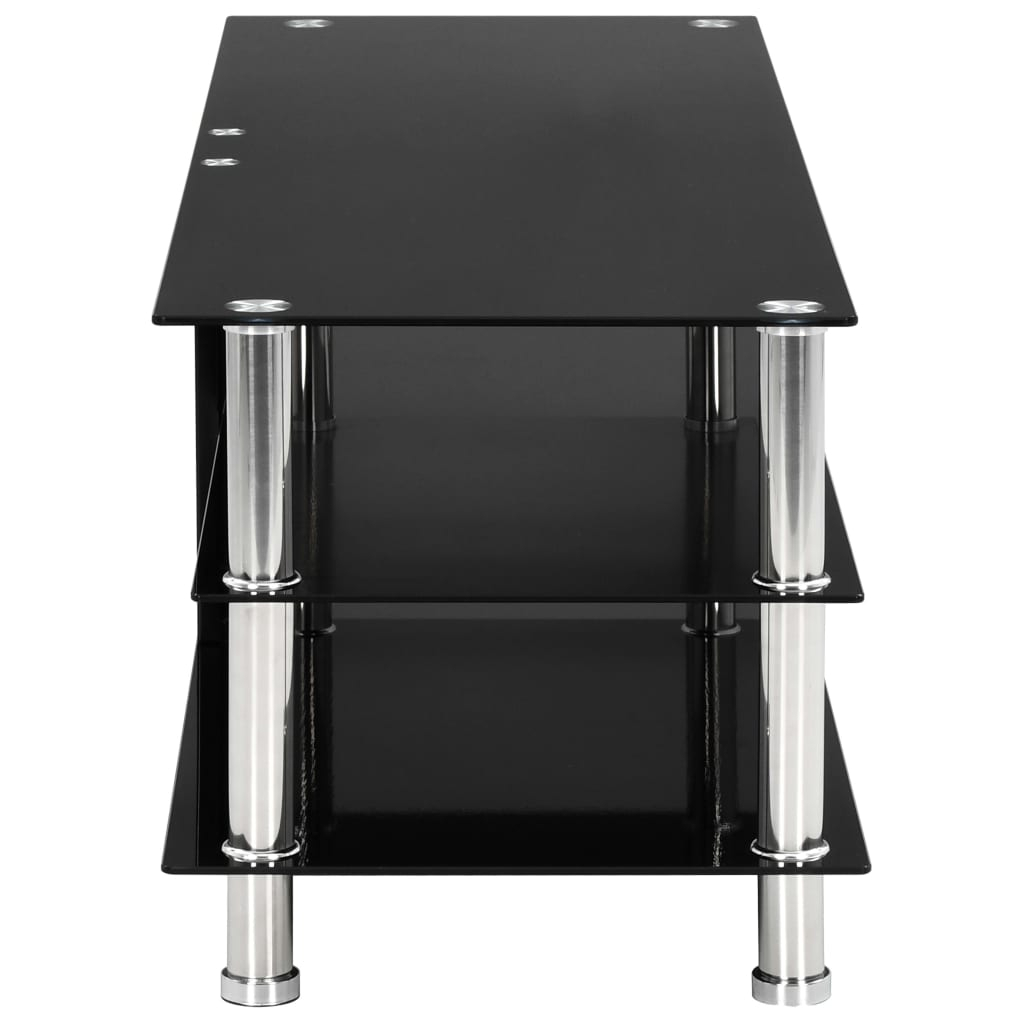 Tv Stand Black Modern Tempered Glass 2/3/4 Tier Wide With Within Tier Entertainment Tv Stands In Black (View 7 of 15)