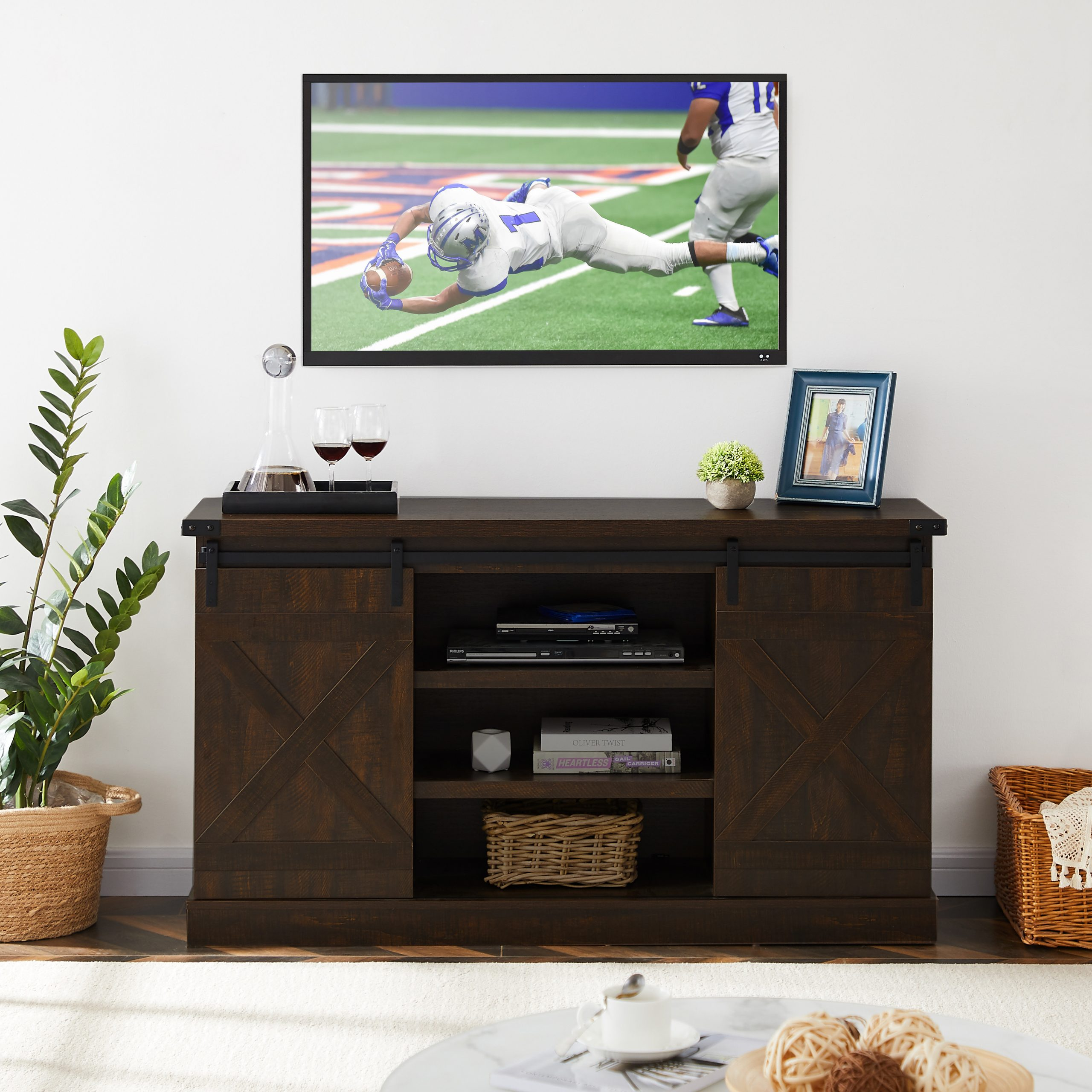 Tv Stand For 40 65 Inch Tv, Modern Farmhouse Tv Stand With Throughout Wooden Tv Stands With Doors (View 1 of 15)