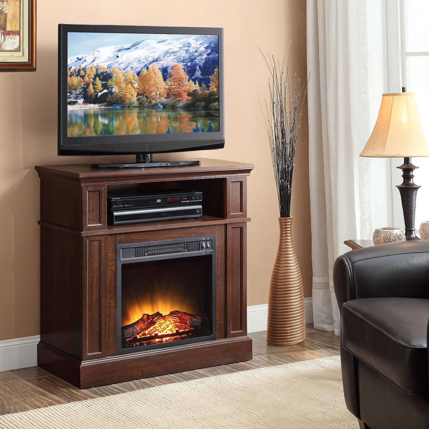Tv Stand With Electric Fireplace 42 Inch Tvs Media Console Within Slim Tv Stands (View 7 of 15)