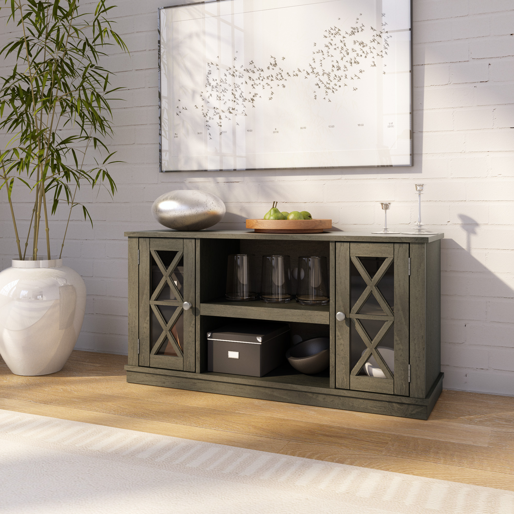 """Twin Star Home Stanton Ridge Spanish Gray Tv Stand For Tvs Within Baba Tv Stands For Tvs Up To 55"""" (View 3 of 15)"""