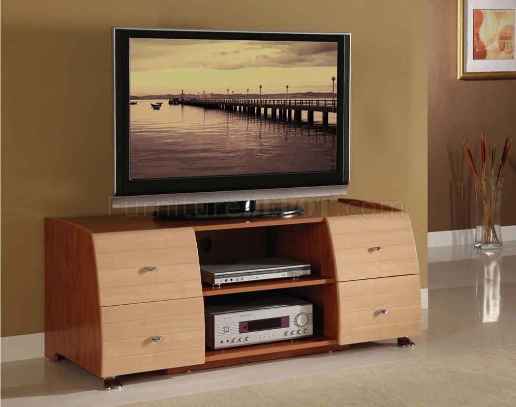 Two Tone Maple & Cherry Contemporary Tv Stand For Baby Proof Contemporary Tv Cabinets (View 12 of 15)