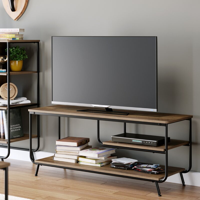"""Union Rustic Spellman Tv Stand For Tvs Up To 50"""" & Reviews For Industrial Tv Stands With Metal Legs Rustic Brown (View 14 of 15)"""