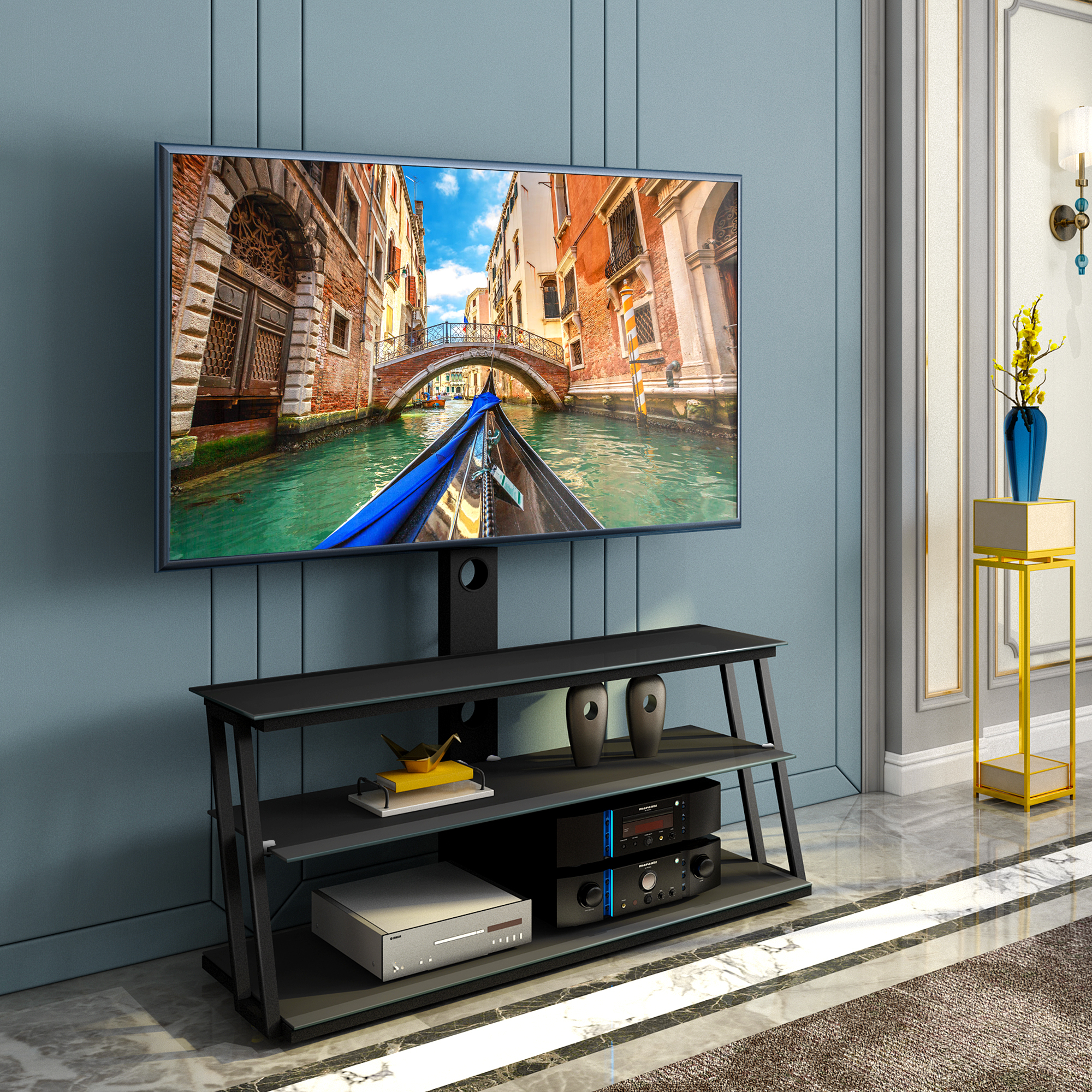 """Universal Tv Stand, Angle And Height Adjustable 3 Tier With Paulina Tv Stands For Tvs Up To 32"""" (View 4 of 15)"""