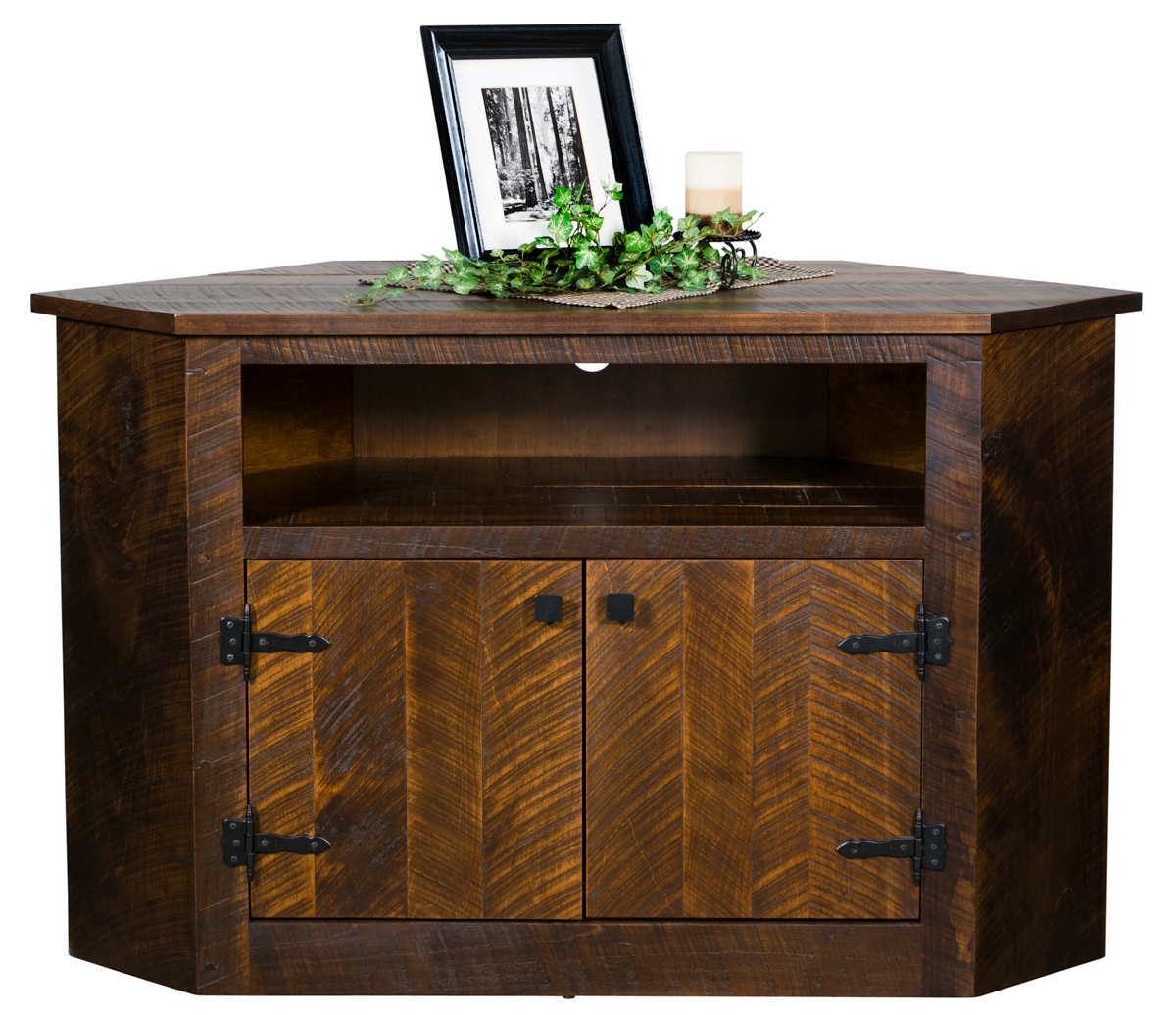 """Up To 33% Off Rustic 52"""" Corner Tv Cabinet In Brown Maple Inside Corner Tv Cabinet With Hutch (View 4 of 15)"""