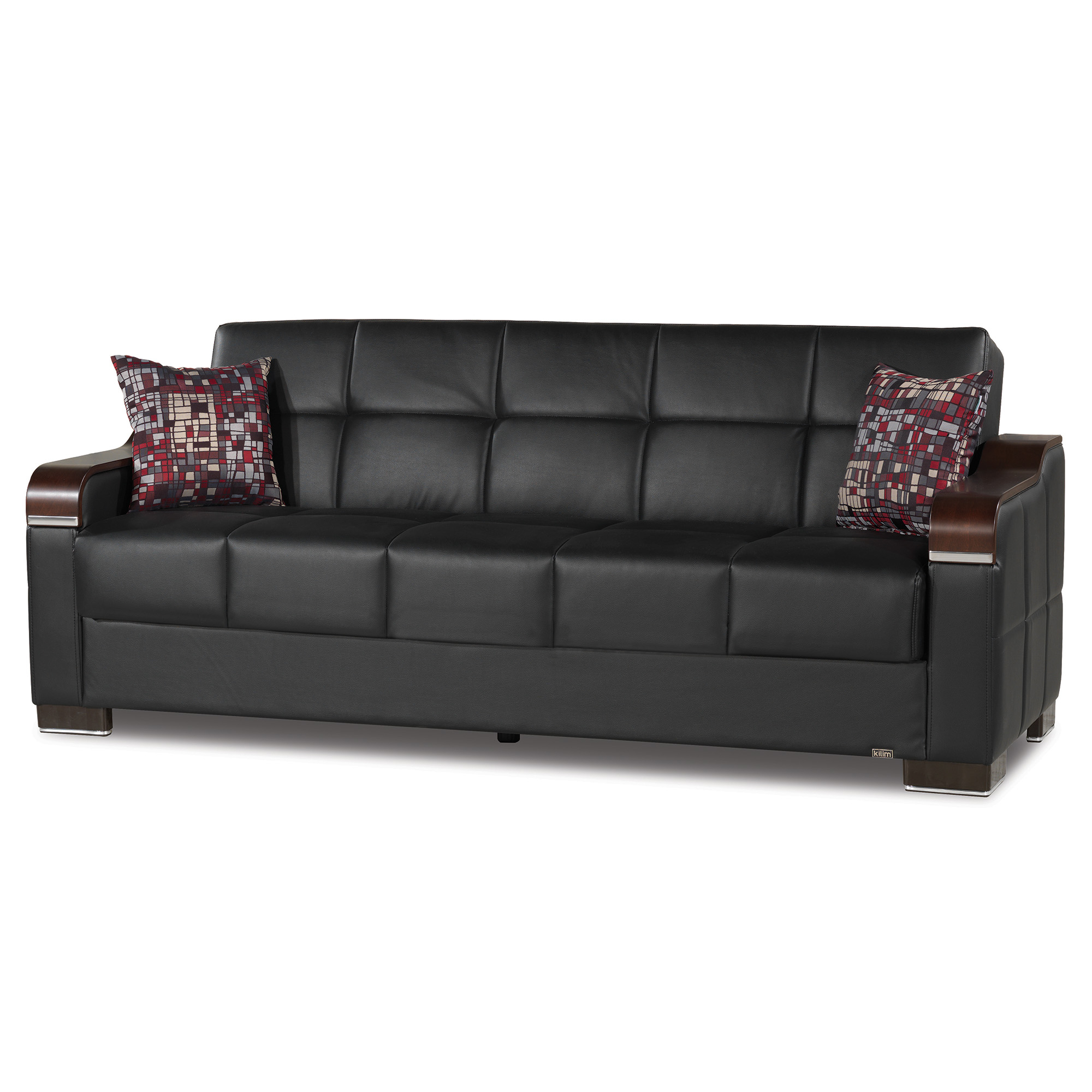 Uptown Leather Wooden Accent Arm Sleeper Sofa Bed With Pertaining To Hartford Storage Sectional Futon Sofas (View 2 of 15)