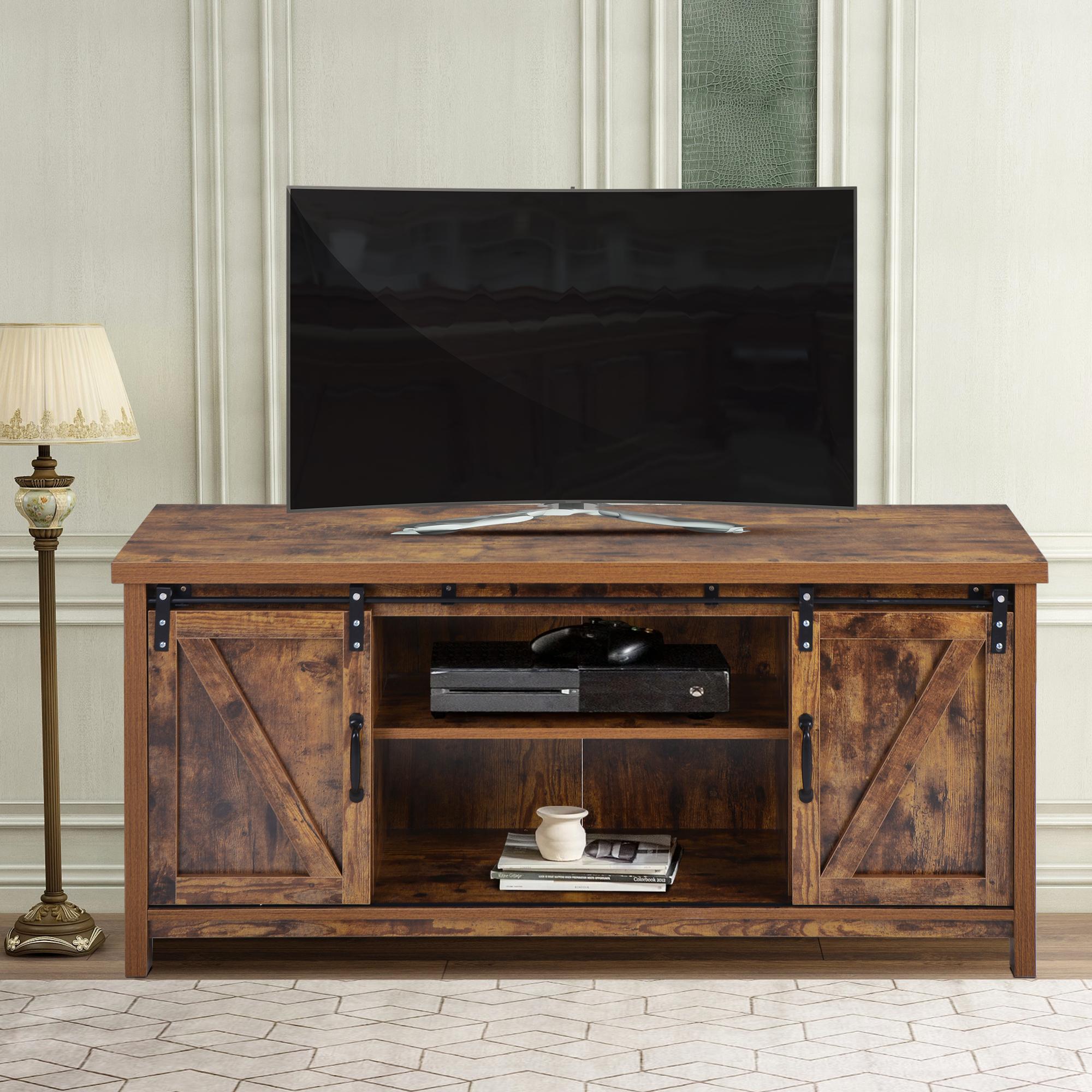 Urhomepro Corner Tv Stand, Modern Farmhouse Barn Door Tv Pertaining To Wooden Tv Stands With Doors (View 6 of 15)