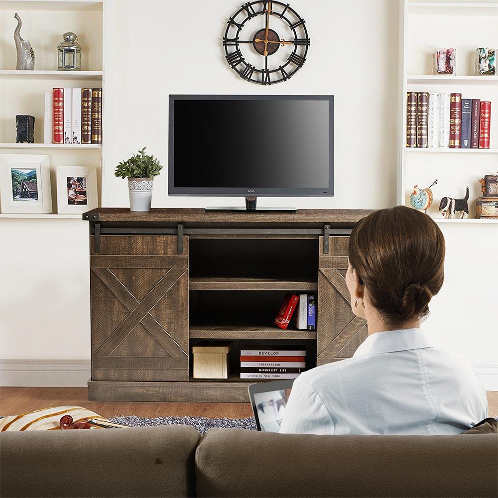 Urhomepro Corner Tv Stand, Modern Farmhouse Barn Door Tv With Regard To Wooden Tv Stands With Doors (View 14 of 15)