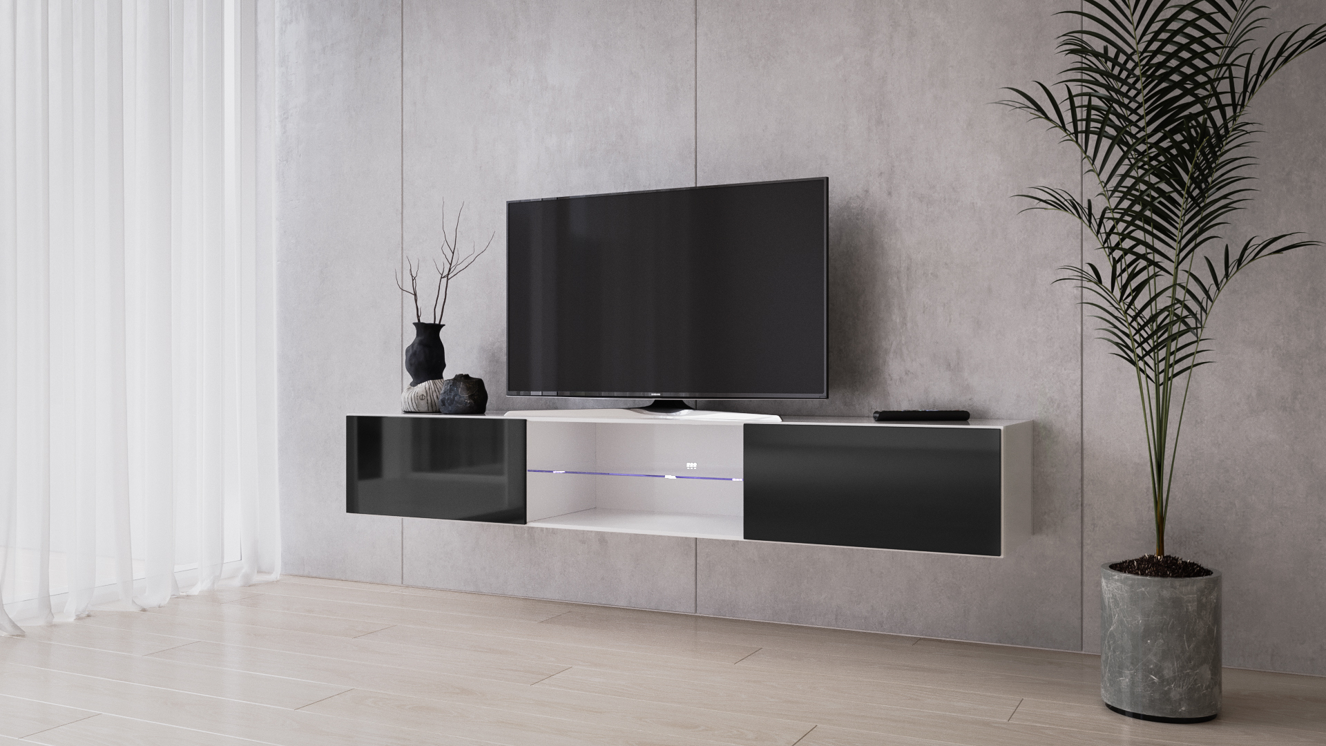 Vigo Glass Tv Stand White/ Black Floating Tv Stand For Up Regarding Baby Proof Contemporary Tv Cabinets (View 11 of 15)