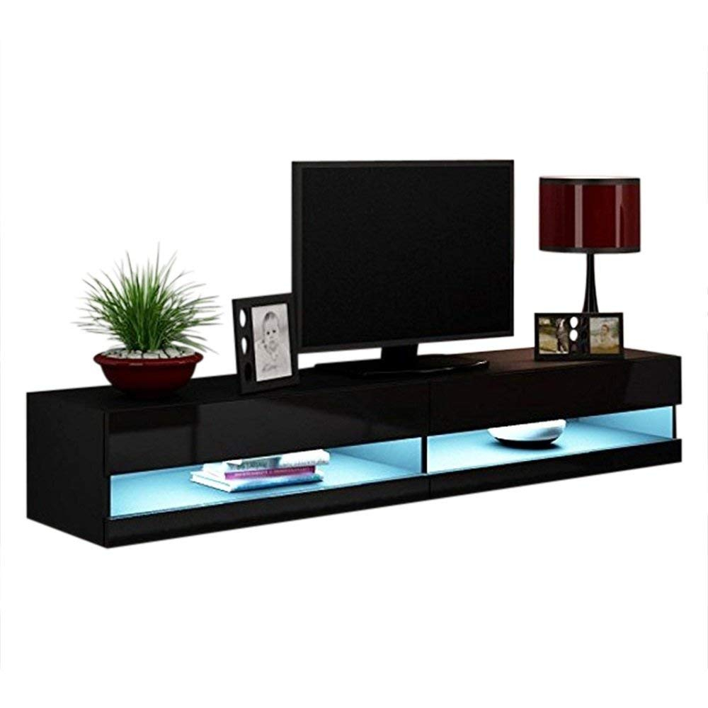 """Vigo New 180 Led Wall Mounted 71"""" Floating Tv Stand, Black With Regard To Polar Led Tv Stands (View 12 of 15)"""