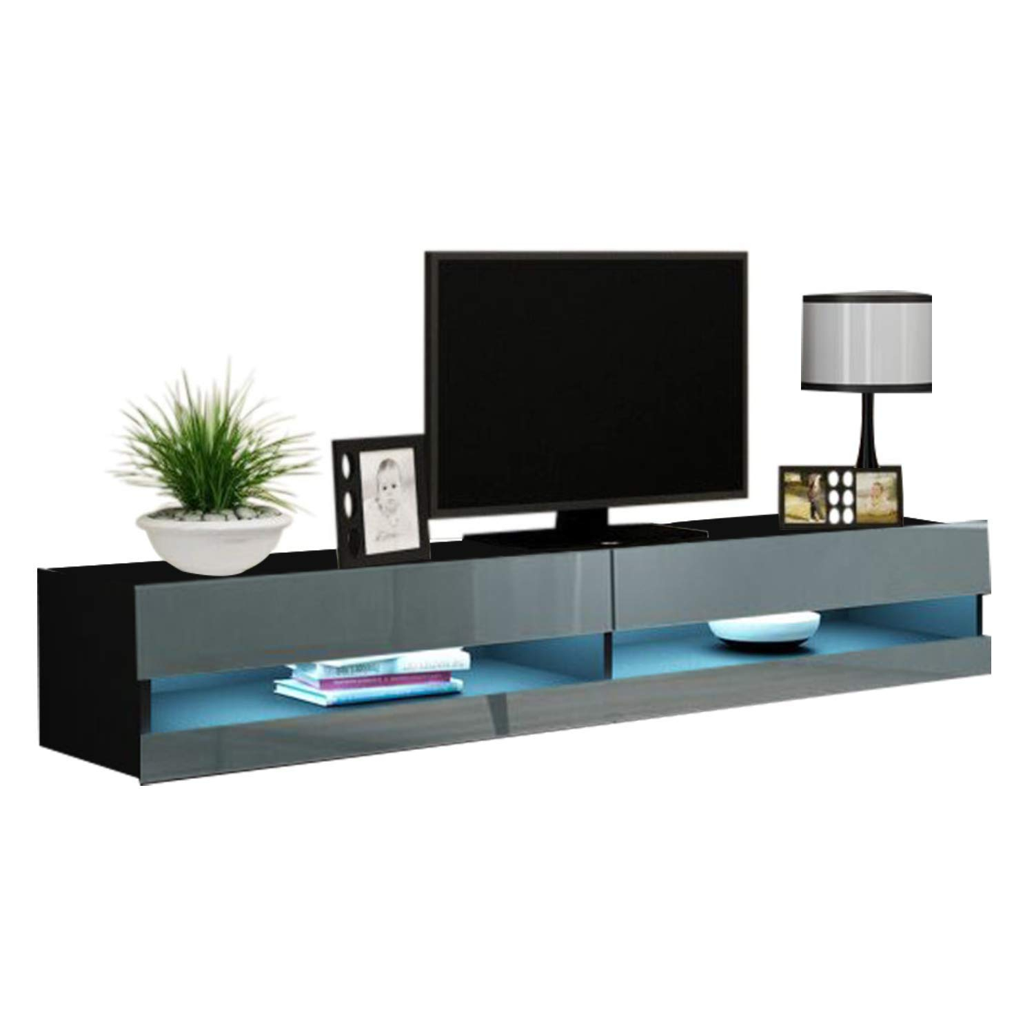 """Vigo New 180 Led Wall Mounted 71"""" Floating Tv Stand, Black Within Polar Led Tv Stands (View 13 of 15)"""