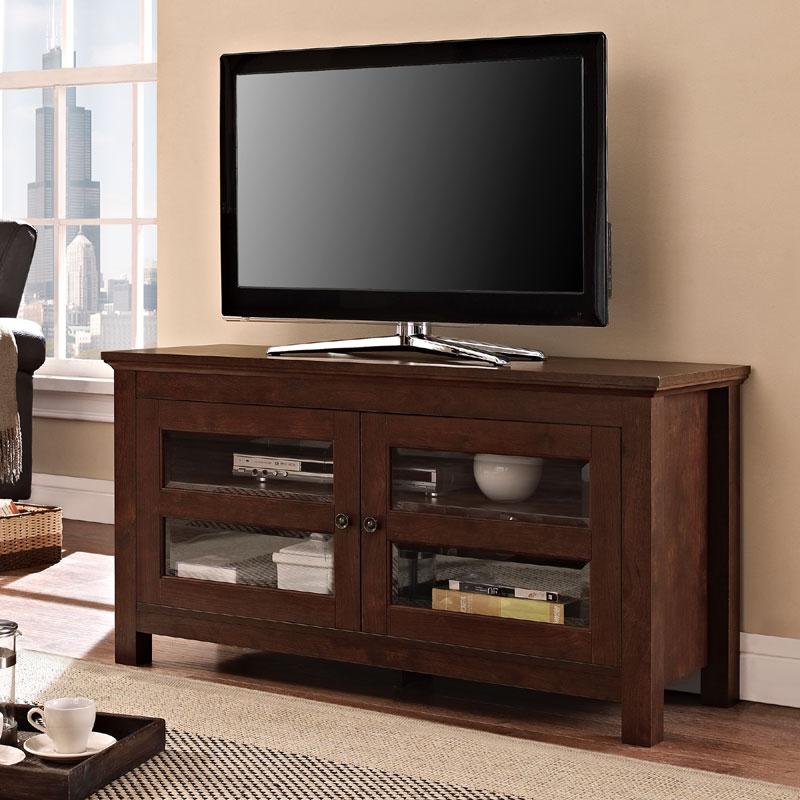 Walker 44 Inch Full Door Wood Tv Console Traditional Brown In Wooden Tv Stands With Doors (View 12 of 15)