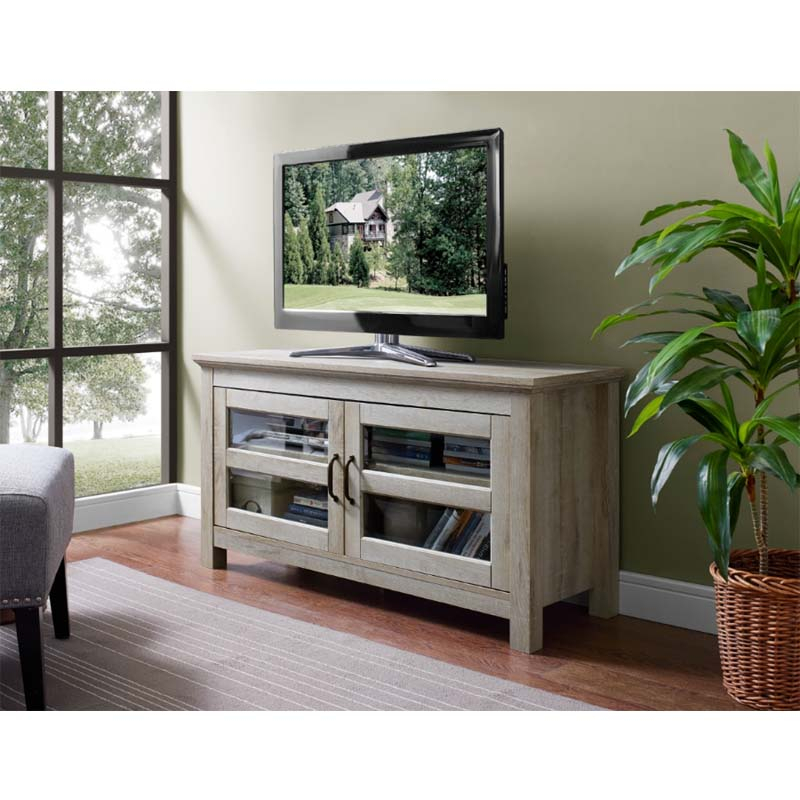 Walker Edison 48 Inch Wood Tv Console (white Oak) Wq44cfdwo Pertaining To Slim Tv Stands (View 12 of 15)