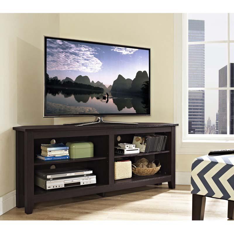 Walker Edison Essentials 60 Inch Corner Tv Stand Espresso Inside Single Tv Stands (View 3 of 15)