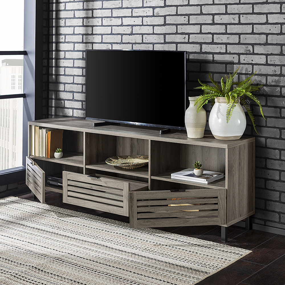 Walker Edison Jackson Tv Stand Cabinet For Most Flat Panel Regarding Corona Grey Flat Screen Tv Unit Stands (View 12 of 15)