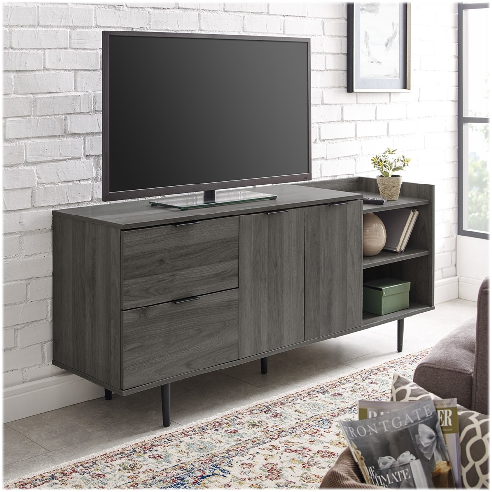 Walker Edison Modern Tv Stand Cabinet For Most Flat Panel Regarding Corona Grey Flat Screen Tv Unit Stands (View 8 of 15)