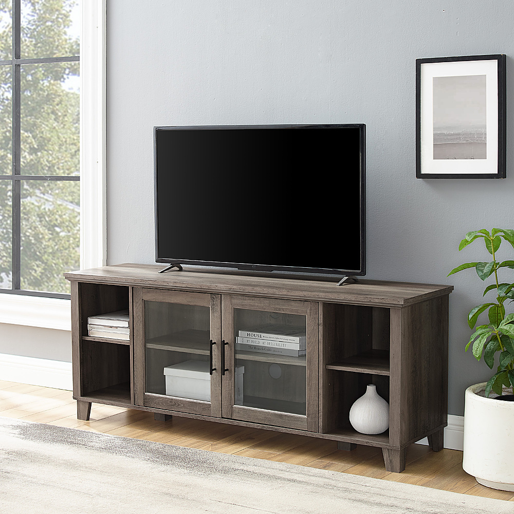 Walker Edison Rustic Farmhouse Columbus Tv Stand Cabinet Inside Corona Grey Flat Screen Tv Unit Stands (View 5 of 15)