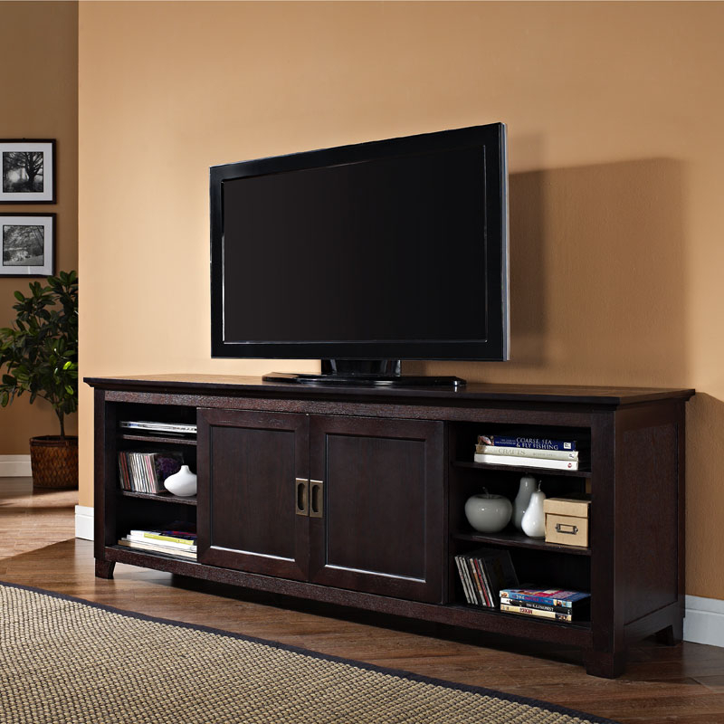 Walker Edison Solid Wood 70 Inch Tv Stand With Sliding Within Wooden Tv Stands With Doors (View 5 of 15)