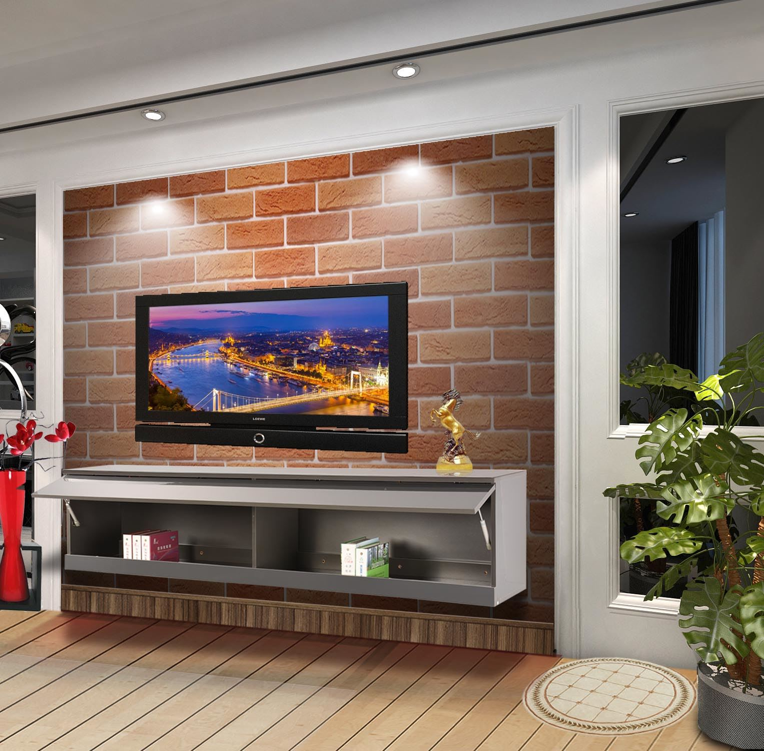 Wall Mounted Tv Cabinet Entertainment Unit High Gloss With Regard To High Gloss Tv Cabinet (View 7 of 15)