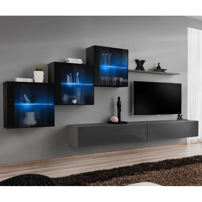 Wall Unit 330cm Wide Tv Stand Shelf 3 Display Square Glass Pertaining To Square Tv Stands (View 9 of 15)