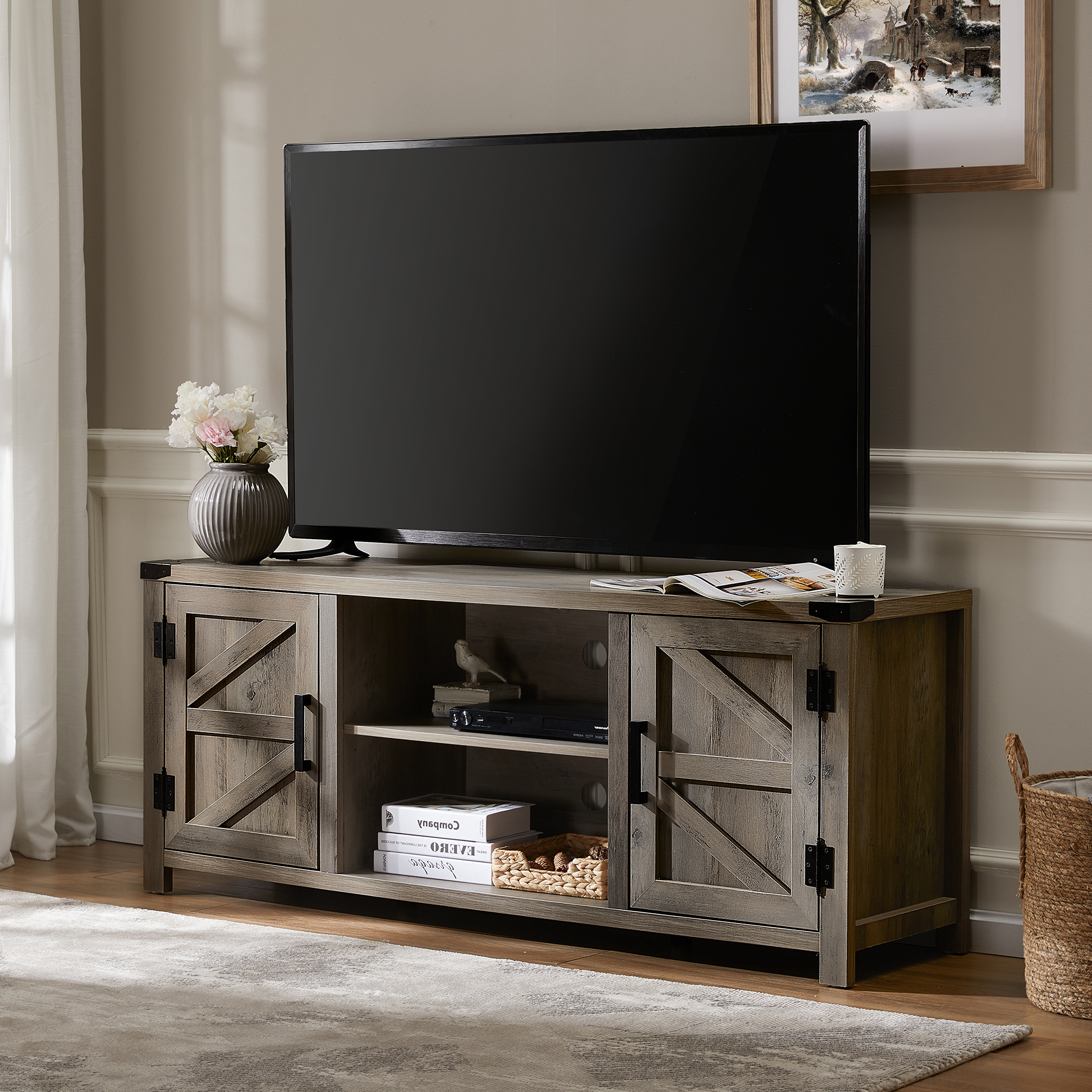 Wampat Farmhouse Barn Door Wood Tv Stands For 65'' Flat Pertaining To Corona Grey Flat Screen Tv Unit Stands (View 3 of 15)