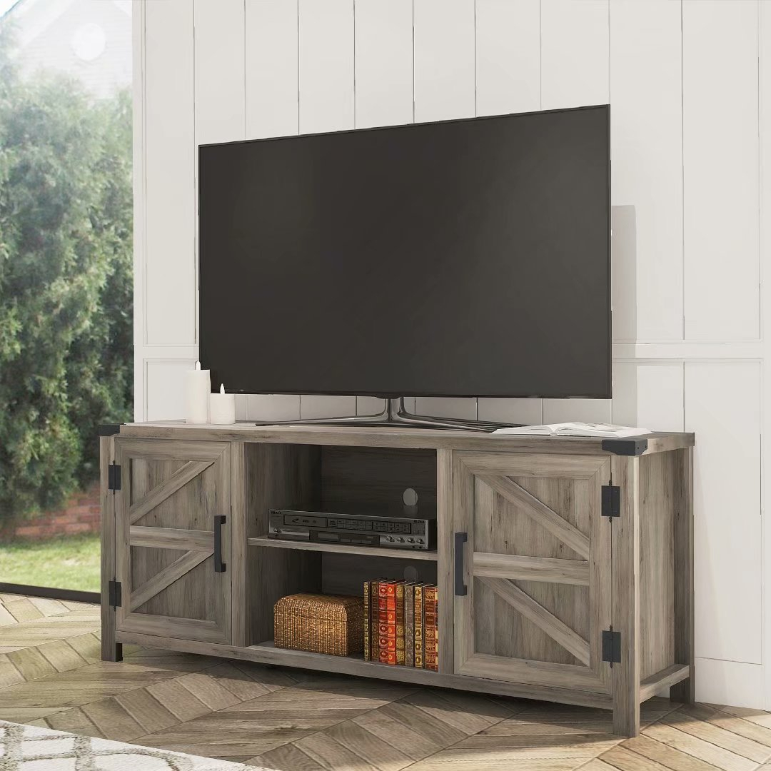 Wampat Farmhouse Barn Door Wood Tv Stands For 65'' Flat With Corona Grey Flat Screen Tv Unit Stands (View 2 of 15)