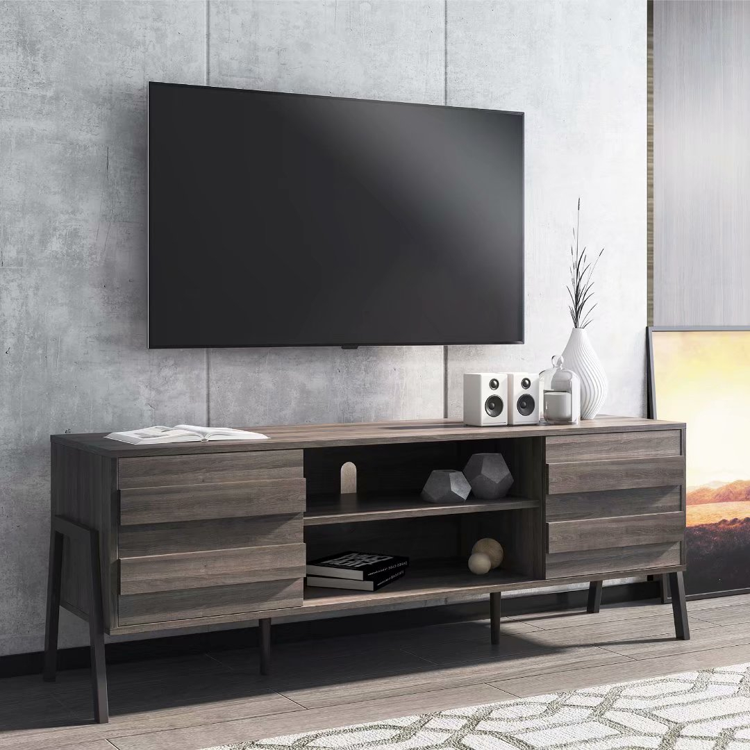 Wampat Mid Century Modern Tv Stand For Up To 65 Flat With Regard To Slim Tv Stands (View 1 of 15)