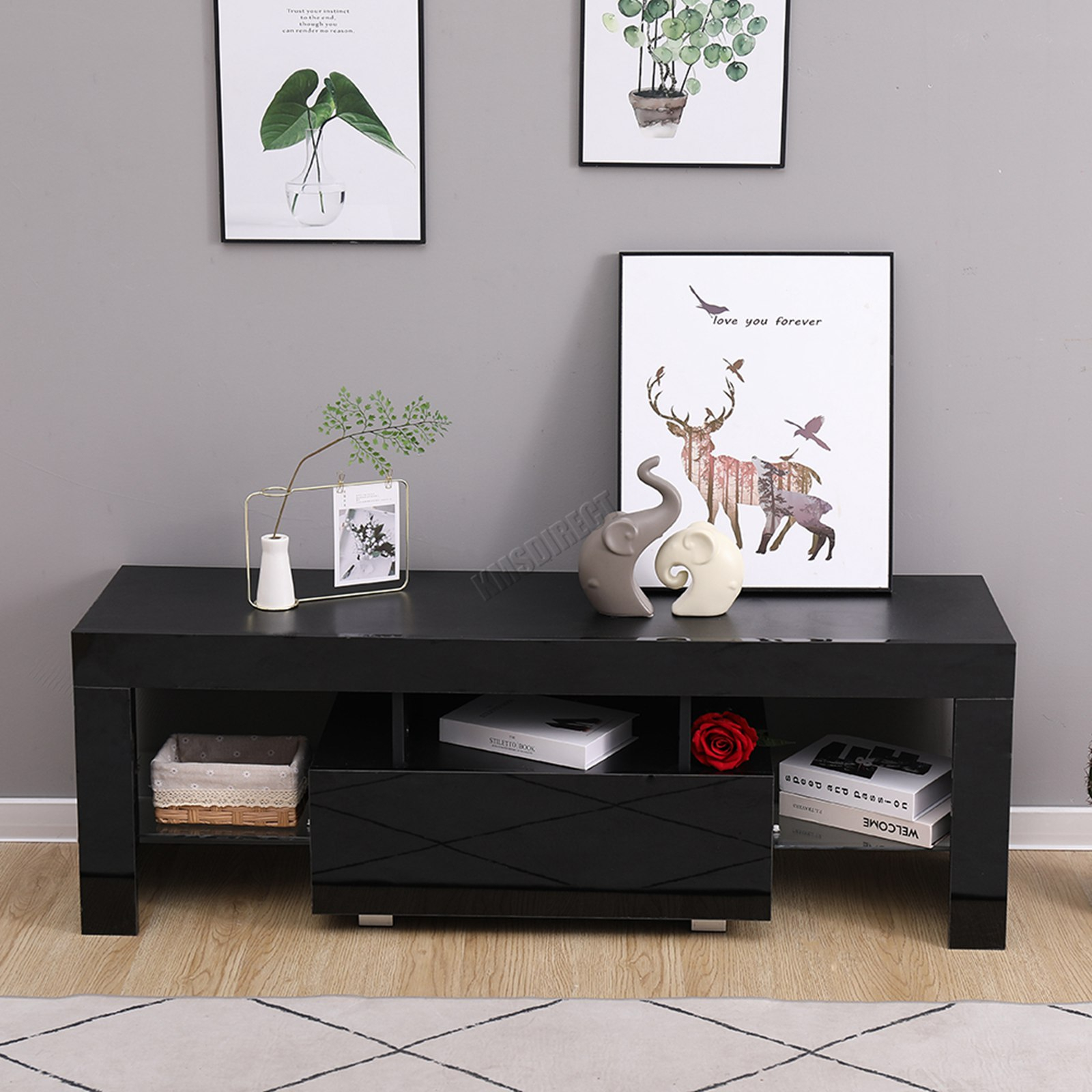 Westwood Morden High Gloss Matt 130cm Tv Cabinet Unit With High Gloss Tv Cabinet (View 3 of 15)