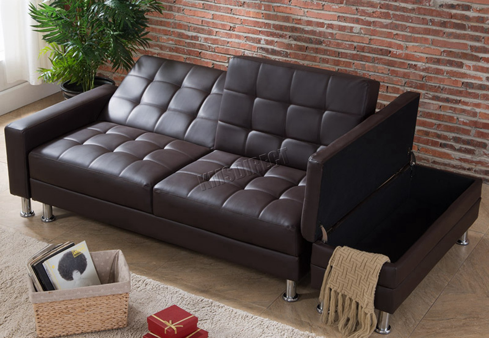 Westwood Pu Sofa Bed With Storage 3 Seater Guest Sleeper With Regard To Hartford Storage Sectional Futon Sofas (View 6 of 15)