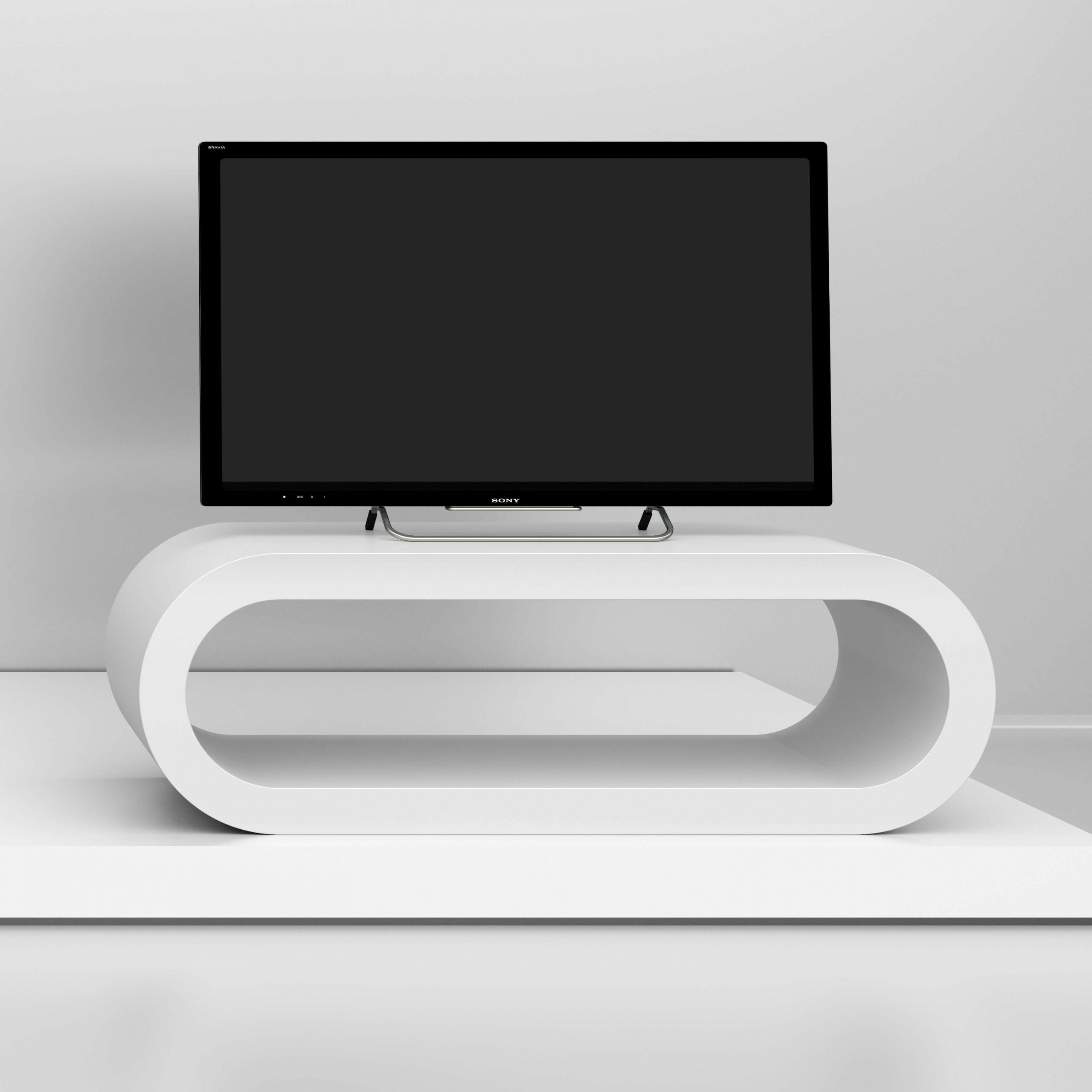 White Gloss Tv Stand – Medium Hoop – Zespoke With White Gloss Oval Tv Stands (View 3 of 15)