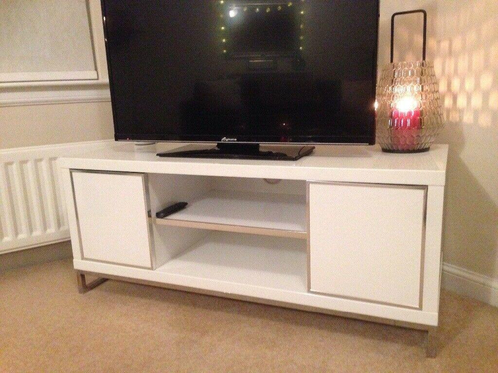 White High Gloss Tv Unit   In Inverkip, Inverclyde   Gumtree Inside Long Black Gloss Tv Unit (View 9 of 15)