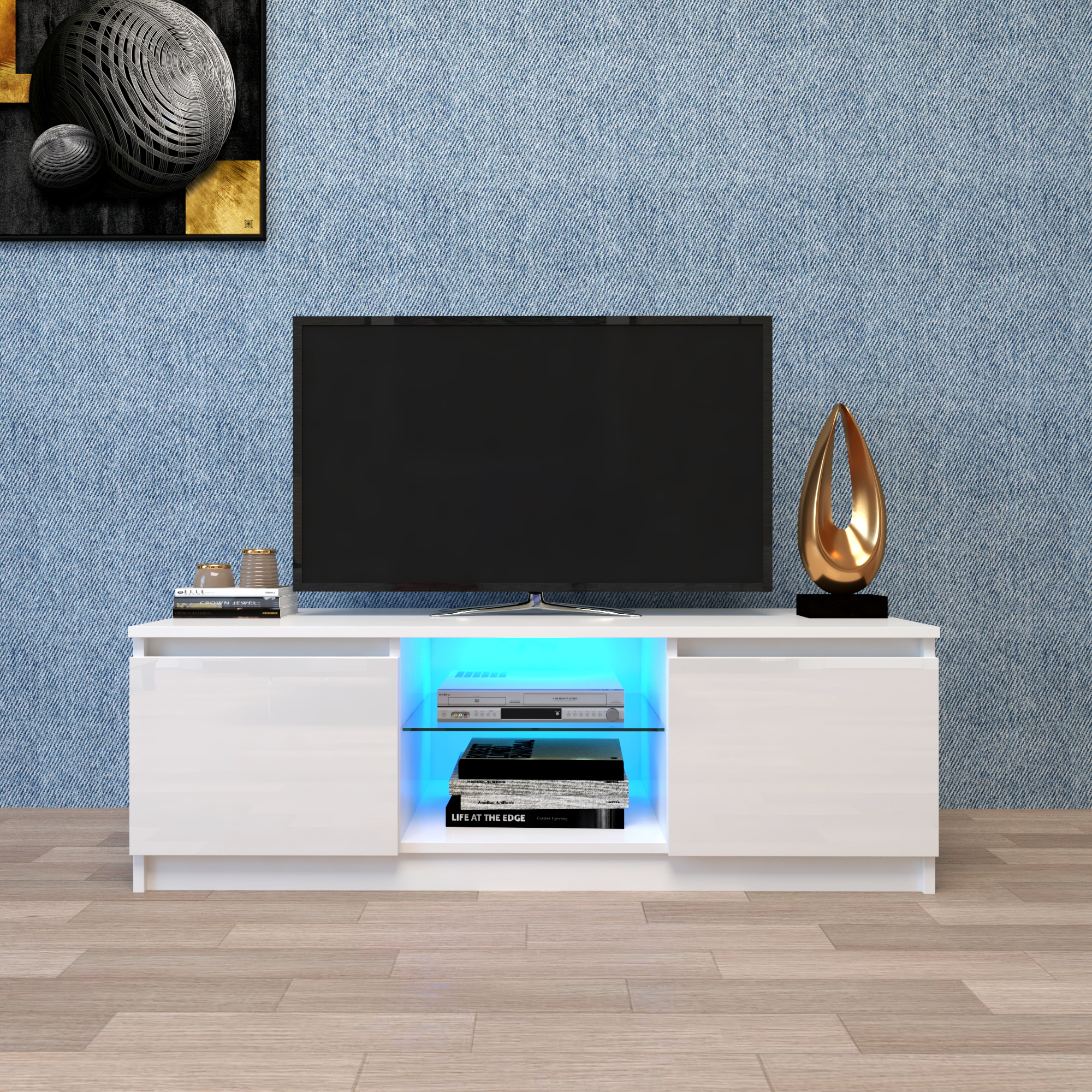 White Tv Stand With Led Lights, Corner Tv Stand With For Polar Led Tv Stands (View 10 of 15)
