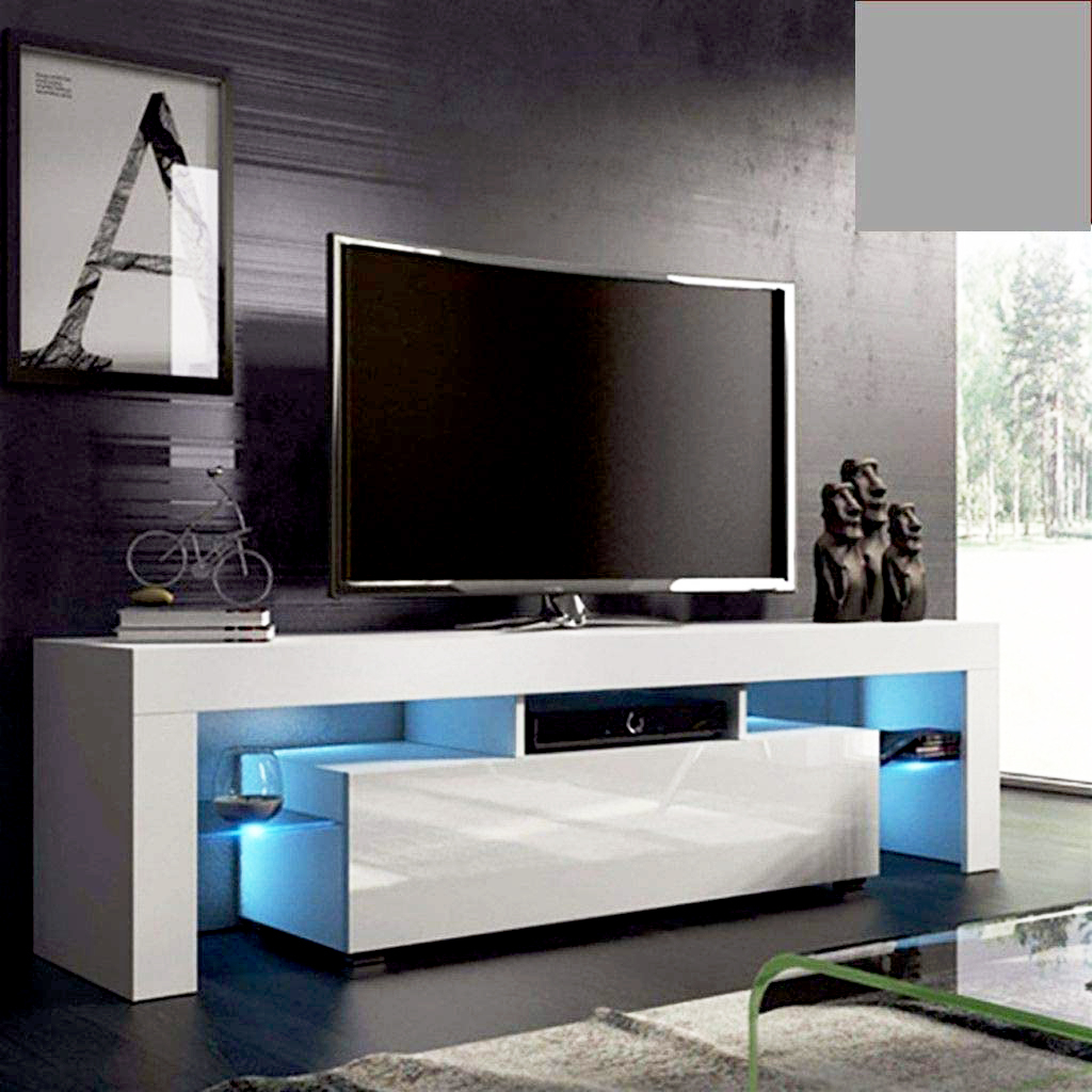White Tv Stand With Led Lights, Corner Tv Stand With Throughout Polar Led Tv Stands (View 5 of 15)