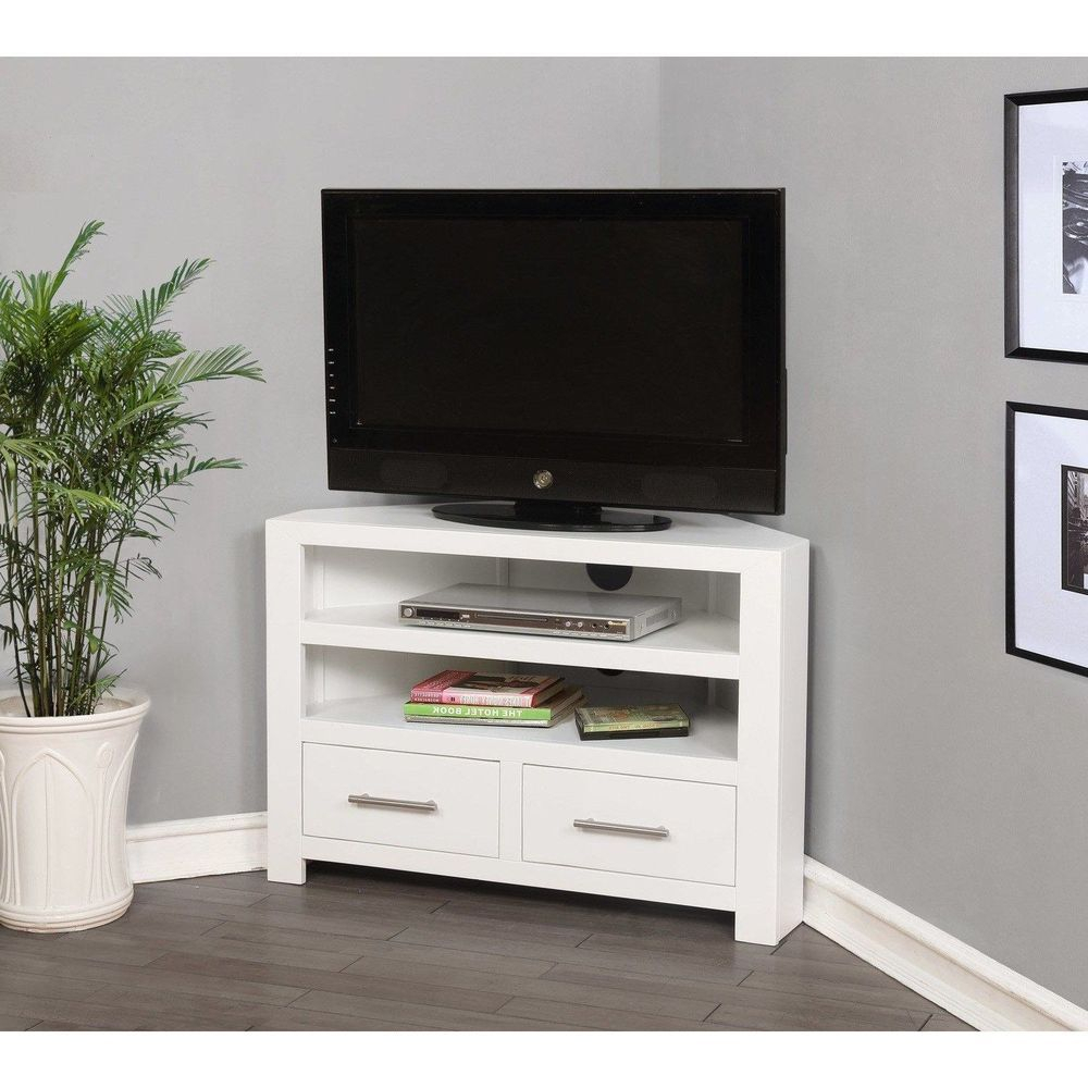 White Wood Corner Tv Unit Stand Cabinet Console Furniture With Wooden Tv Stand Corner Units (View 8 of 15)