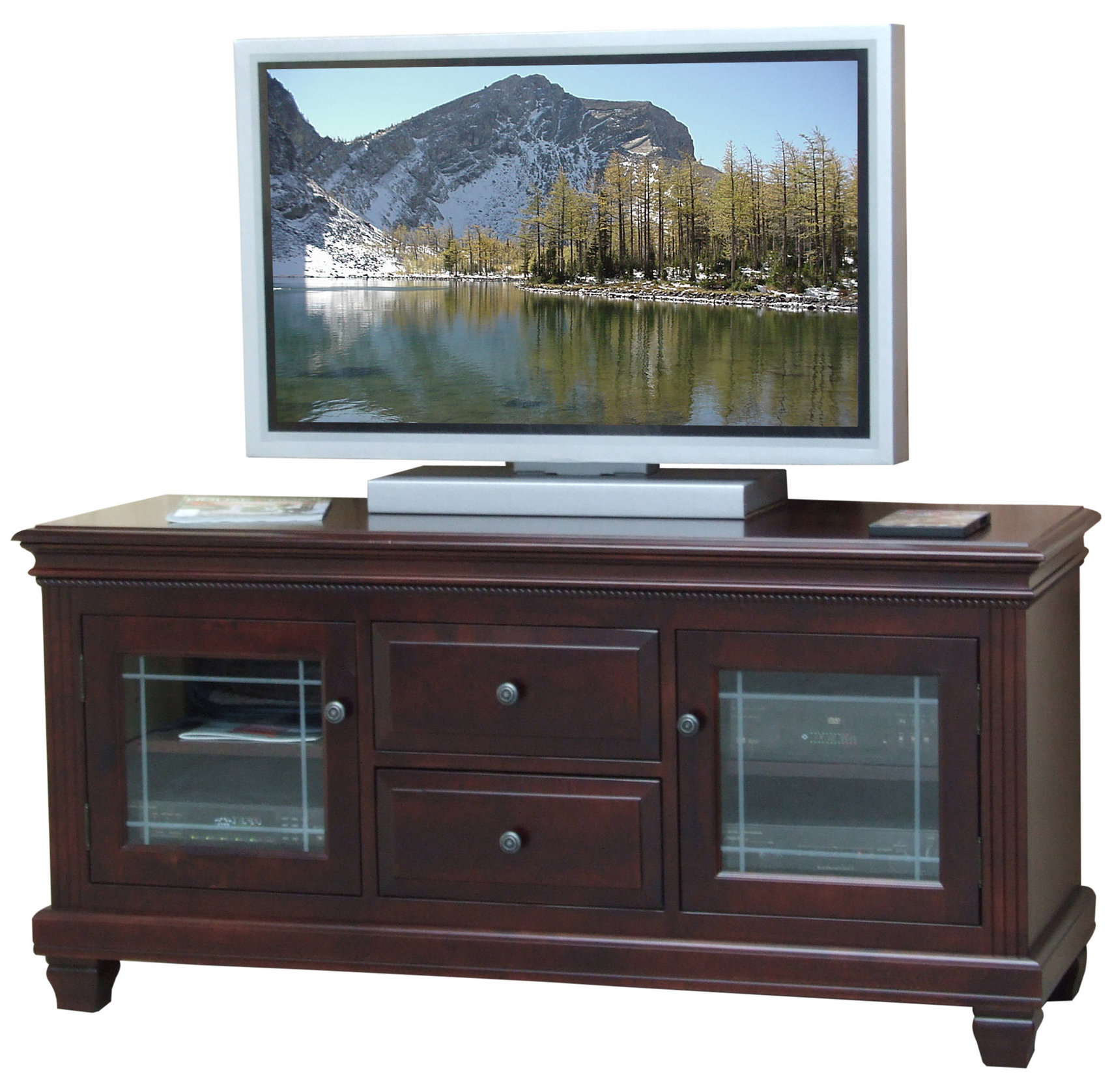Wide Glass Door Tv Cabinet – Classic Eco Friendly Wood Within Tv Cabinets With Glass Doors (View 6 of 15)