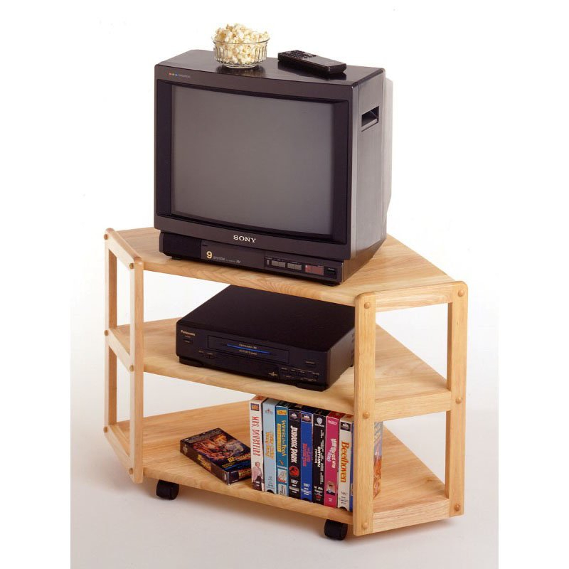 Winsome Wood Curved Corner Tv Stand In Beech Throughout Low Corner Tv Stands (View 4 of 15)